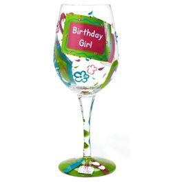Lolita® Birthday Girl Handpainted Wine Glass, 15 oz., , large