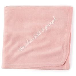 Pink Knit Religious Baby Blanket, , large