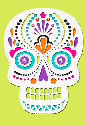 Colorful Gems Skull Halloween Card