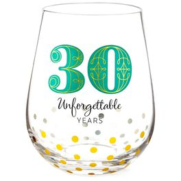 30 Unforgettable Years Stemless Wine Glass, , large