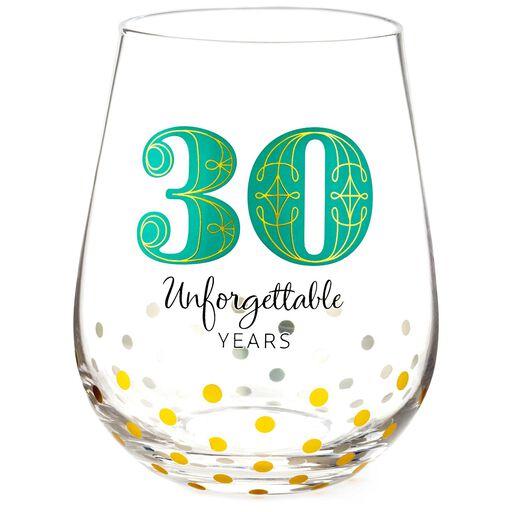 30 Unforgettable Years Stemless Wine Glass