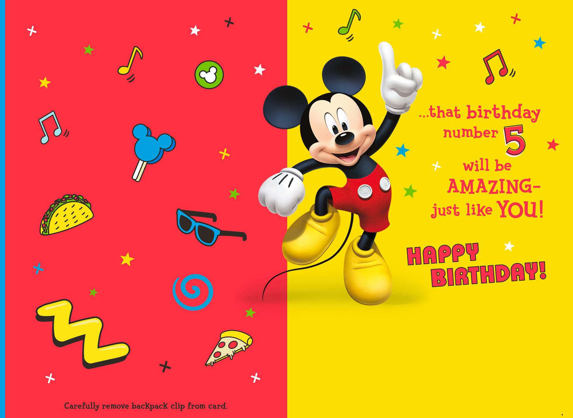 Disney Mickey Mouse 5th Birthday Card With Backpack Clip Greeting