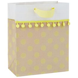 "Yellow Dots Medium Gift Bag With Pom Pom Fringe, 9.5"", , large"