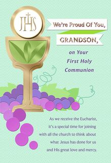 Chalice and Grapes First Holy Communion Card for Grandson,