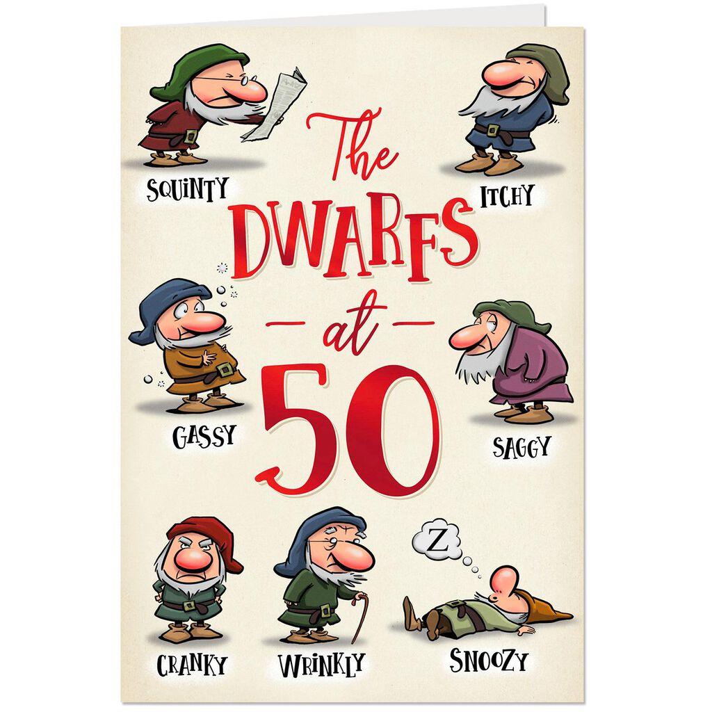 Funny Dwarfs 50th Birthday Card