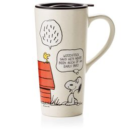 Snoopy and Woodstock Early Bird Travel Mug, 16 oz., , large