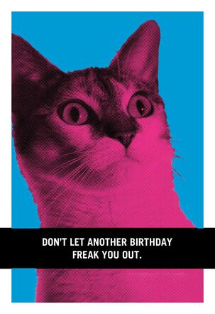 Cat Birthday Freak Out Funny Birthday Card