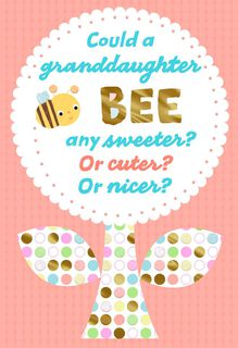 Honey Bee Rosh Hashanah Card for Granddaughter,