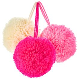 """Shades of Pink 1 1/2"""" Yarn Pom Gift Bows, Pack of 3, , large"""