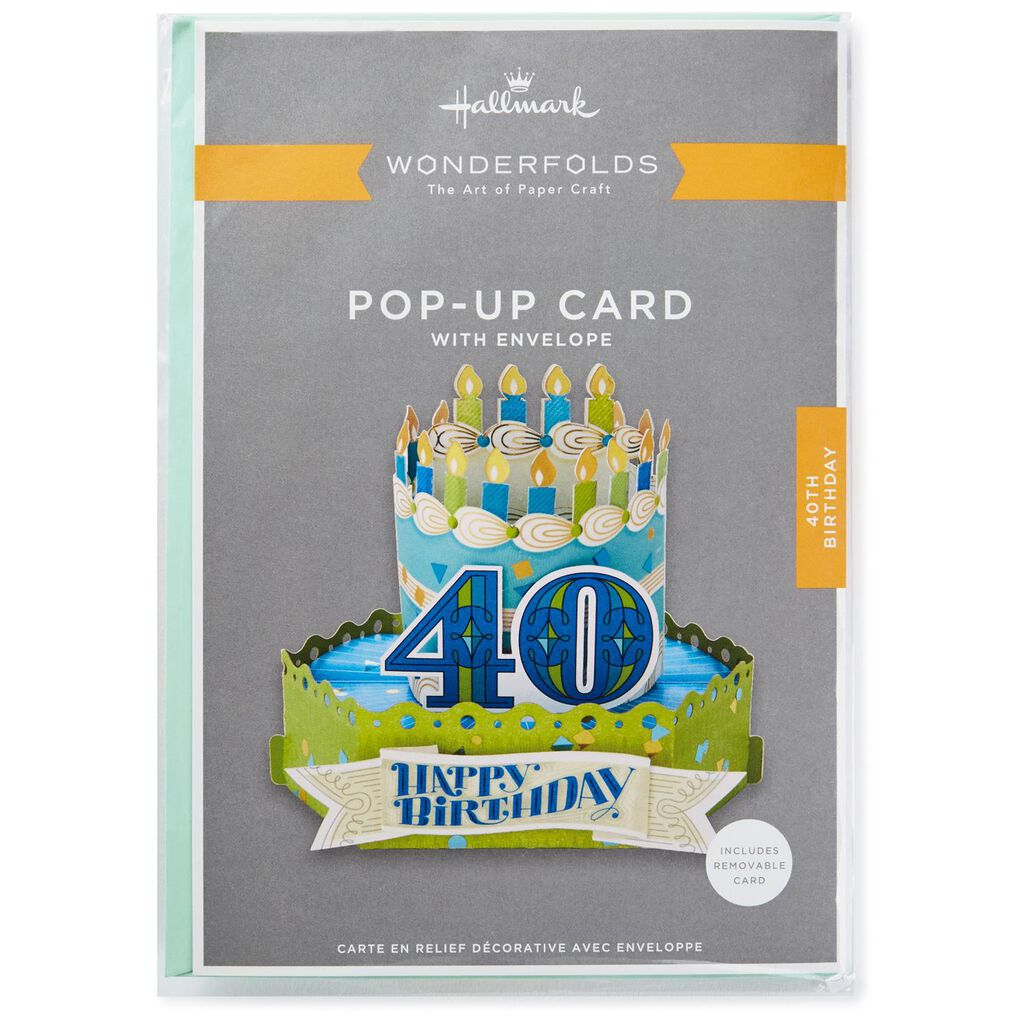 Celebrate With Cake Pop Up 40th Birthday Card