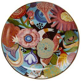 Swirling Flowers Ceramic Dessert Plate, , large