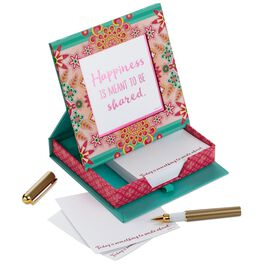 Catalina Estrada Pink and Teal Flowers Memo Holder With Pen and Frame, , large