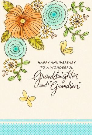 """Flower Anniversary Card for Granddaughter and """"Grandson"""""""