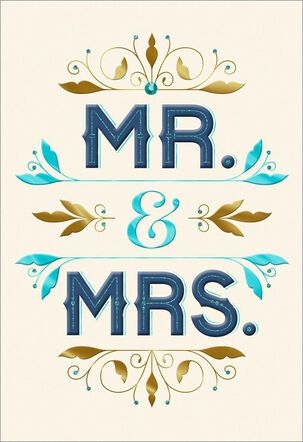 Blue and Gold Mr. & Mrs. Wedding Card