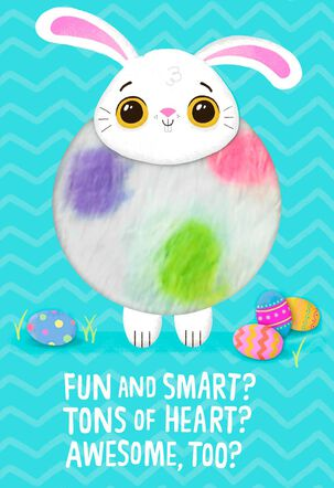 Fuzzy Bunny Tons of Heart Easter Card for Kids