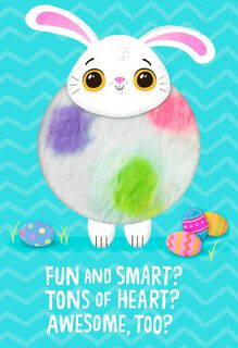 Fuzzy Bunny Tons of Heart Easter Card for Kids,