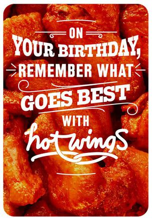 Hot Wings and Boobs Funny Birthday Card
