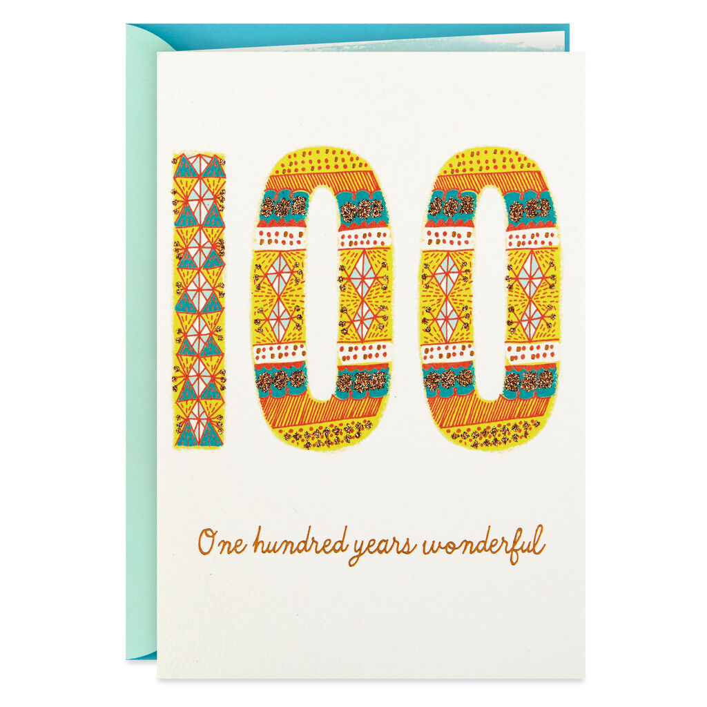 100 Years Wonderful 100th Birthday Card