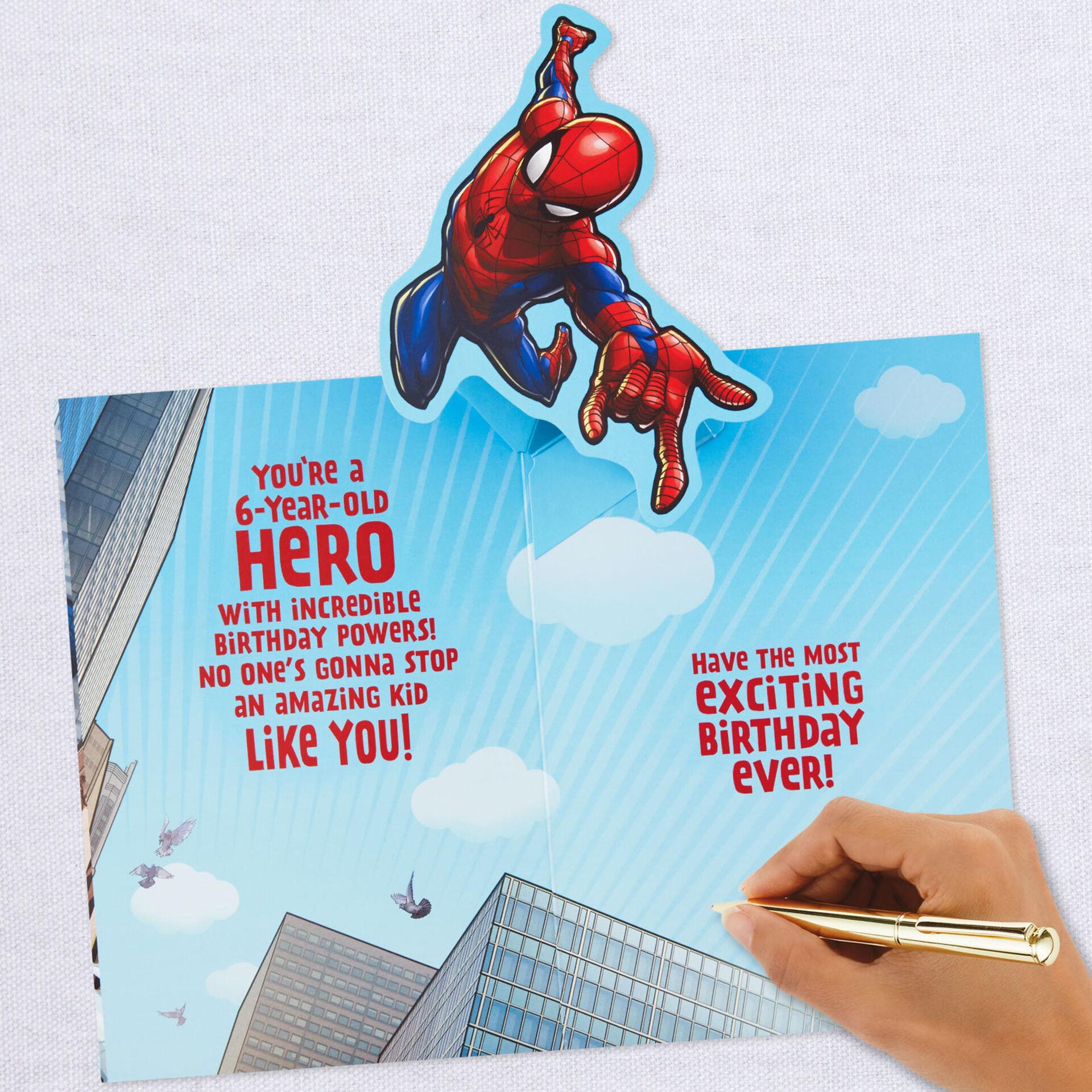 spiderman amazing hero 6th birthday popup birthday card