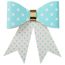 "Aqua Polka Dot Bow, 4.25"", , large"