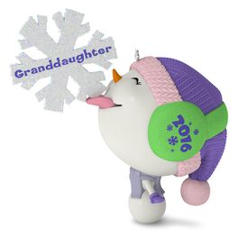 Whimsical Snowman and Snowflake Granddaughter Ornament, , large