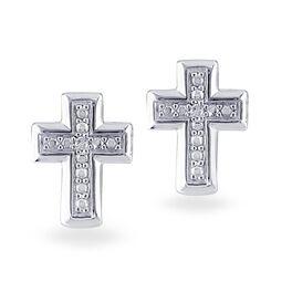 Diamond Accent Cross Earrings in Sterling Silver, , large
