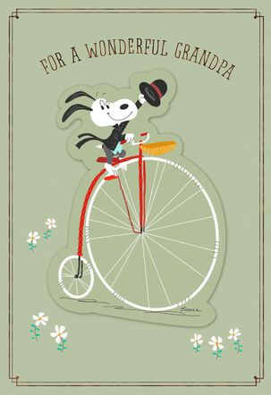 Snoopy on Vintage Bike Father's Day Card for a Grandfather