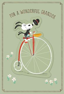 Snoopy on Vintage Bike Father's Day Card for a Grandfather,