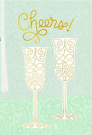 Cheers! Champagne Glasses Wedding Congratulations