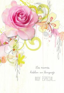 A Pink Rose Spanish-Language Mother's Day Card,