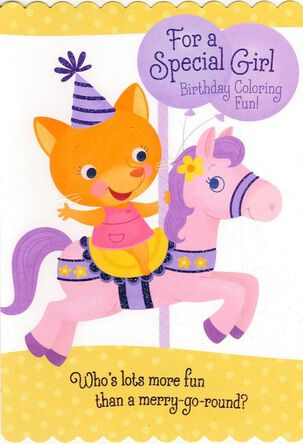 Birthday Girl Carousel Coloring Birthday Card
