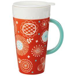 Orange Ceramic Travel Mug With Infuser and Lid, 13 oz., , large