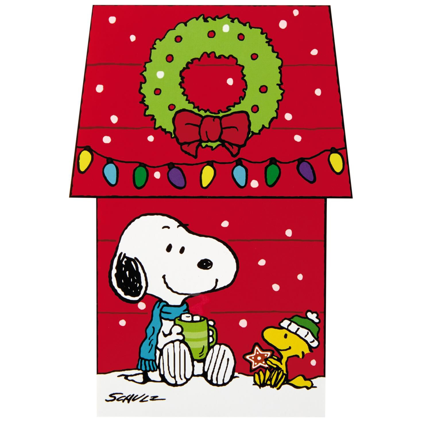 Christmas Card Clip Art.Peanuts Snoopy Dog House Christmas Cards With Decorated Storage Box Box Of 16
