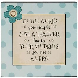 Teacher Hero Box Sign, 8x8, , large