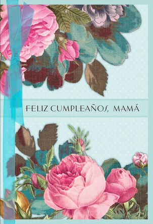 Pastel Flowers Spanish-Language Birthday Card for Mom