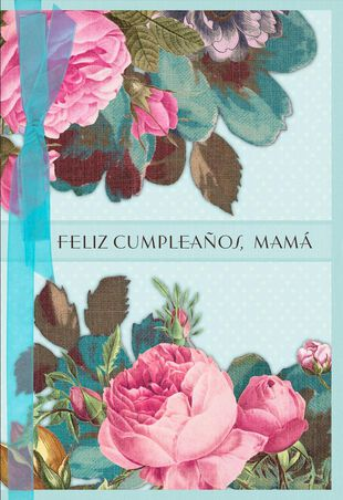 Pastel Flowers Spanish Language Birthday Card For Mom