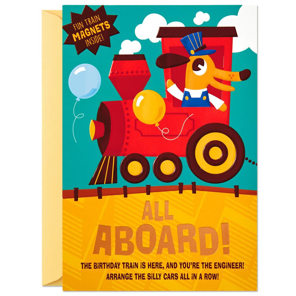 All Aboard Birthday Card With Magnets