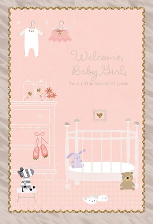 Pink Nursery Religious New Baby Card