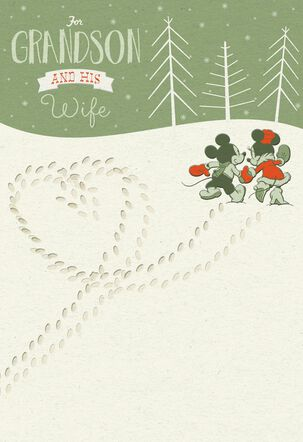 Mickey and Minnie Mouse For Grandson and Wife Christmas Card