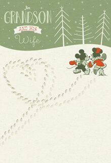 Mickey and Minnie Mouse For Grandson and Wife Christmas Card,