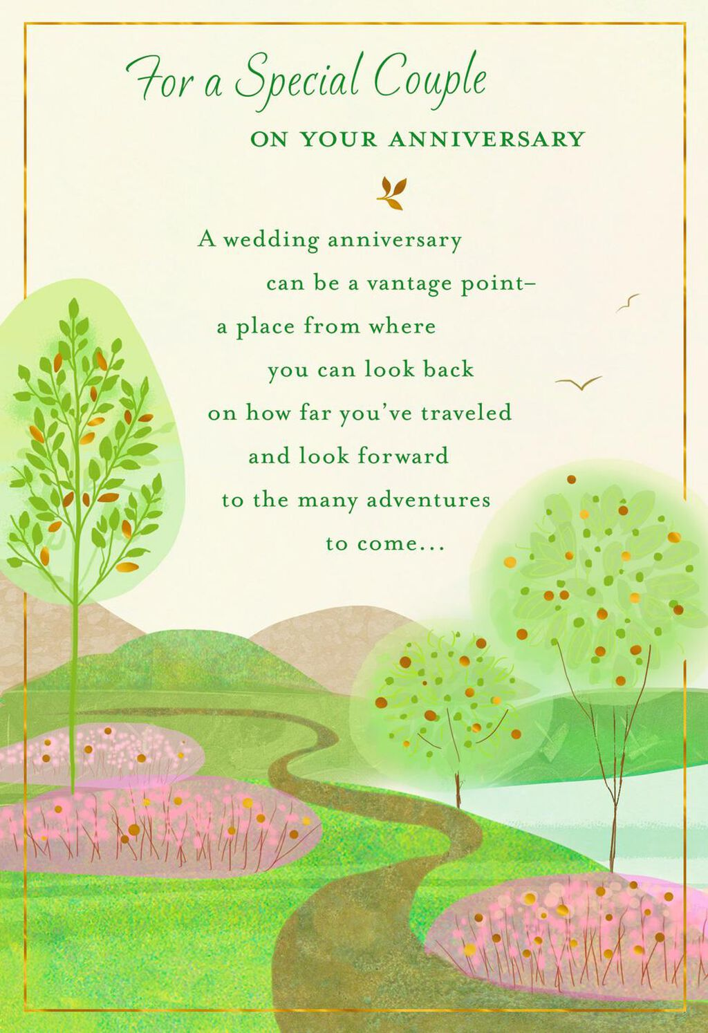 Pathway Through Trees Anniversary Card For Couple Greeting Cards