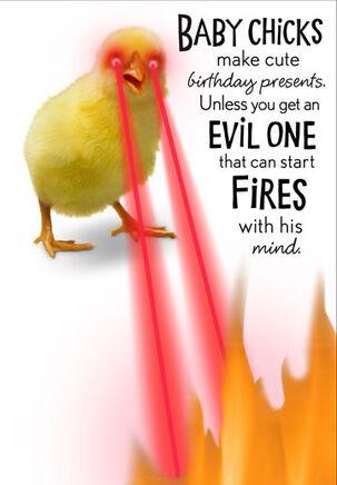 Evil Chick Funny Birthday Card