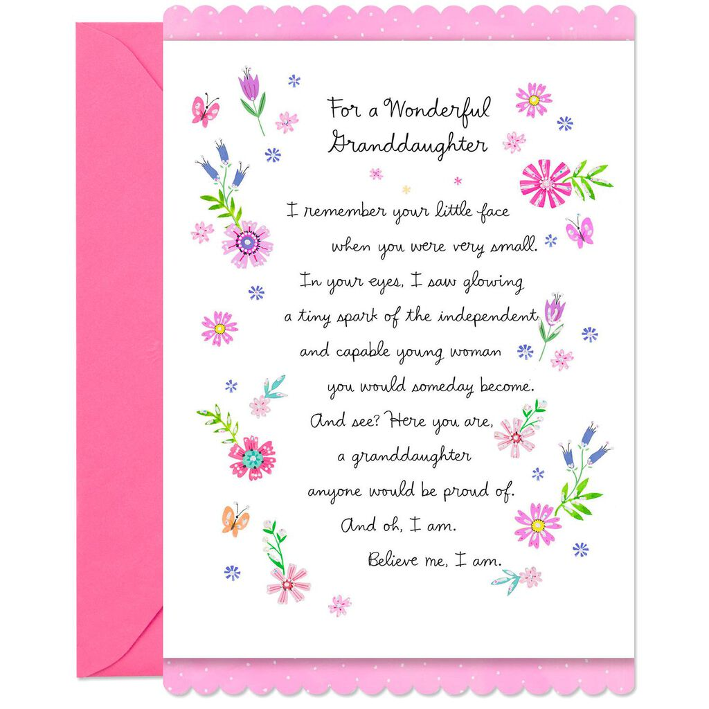 Proud Of The Young Woman You Are Birthday Card For Granddaughter