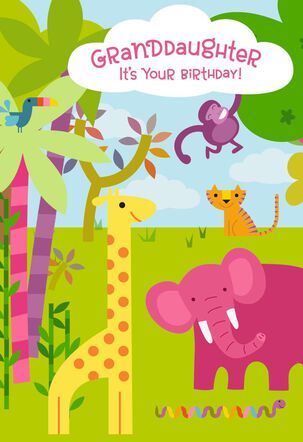 Jungle Animals Birthday Card With Coloring Activity for Granddaughter