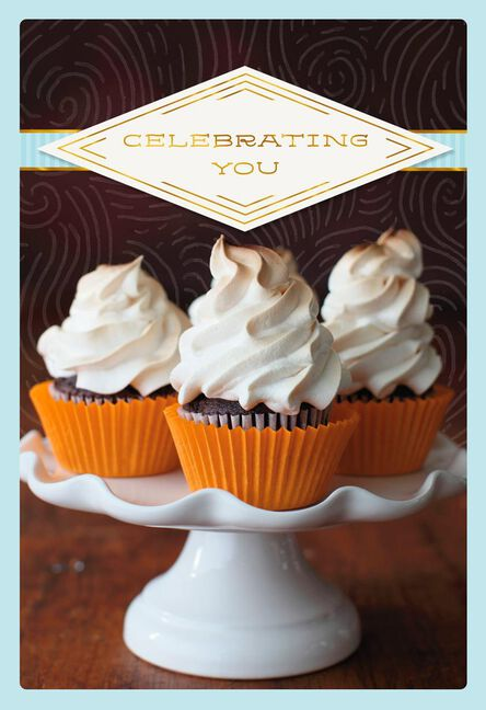 Celebrating You Cupcakes With Foil Birthday Card Greeting Cards