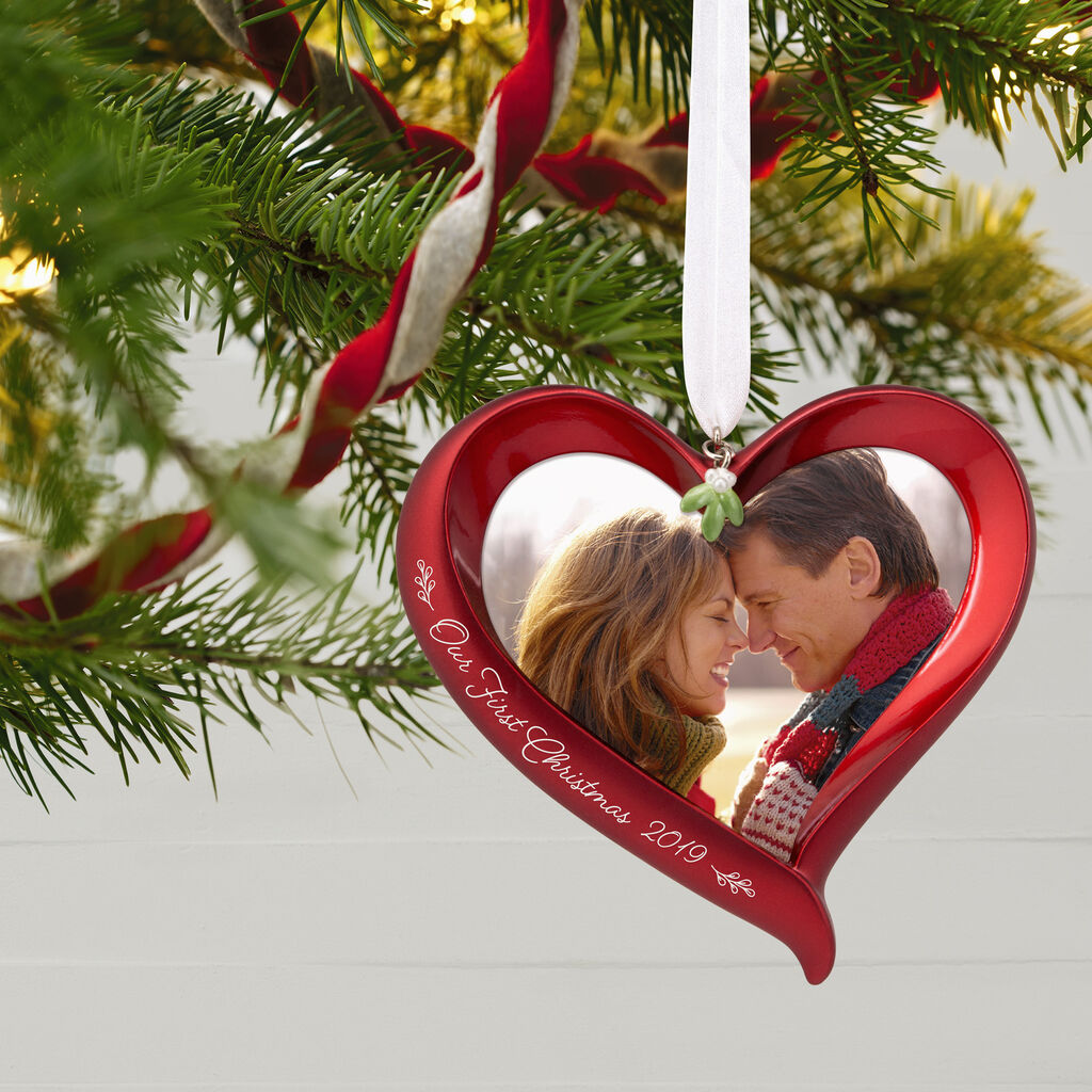 Hallmark Our First Christmas Ornament.Our First Christmas Heart 2019 Photo Frame Ornament