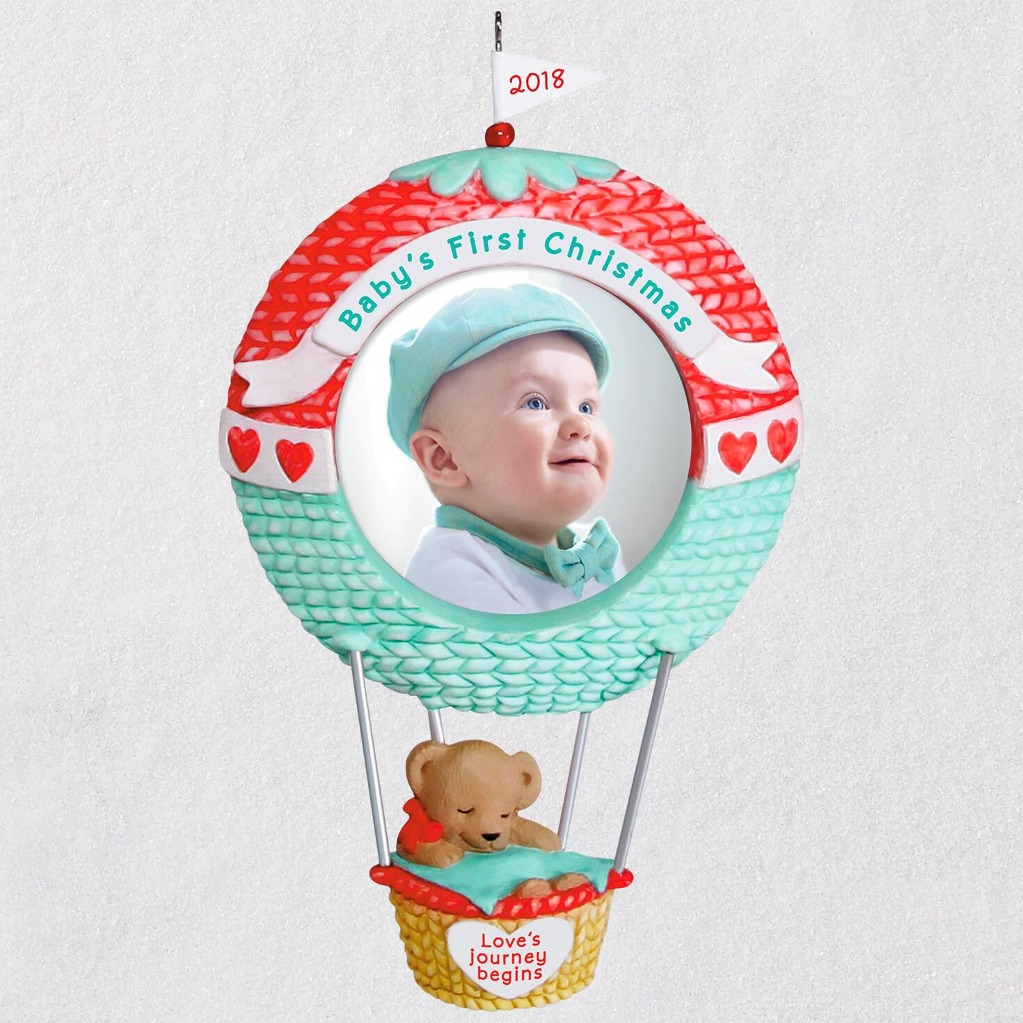 babys first christmas loves journey begins 2018 photo ornament keepsake ornaments hallmark