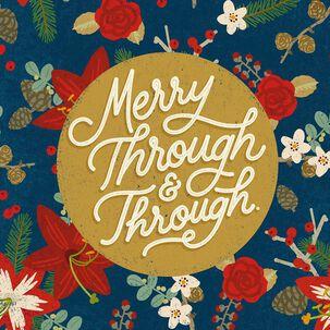 Merry Flower Pattern Musical Christmas Card