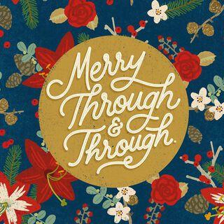 Merry Flower Pattern Musical Christmas Card,