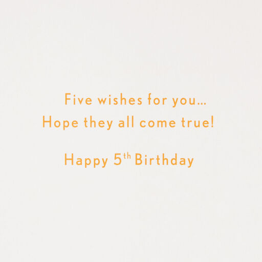Wishes For You 5 Confetti Fifth Birthday Card